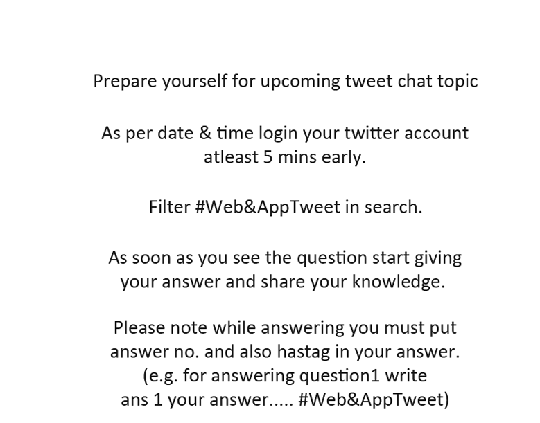 How to participate in Web&AppTweet Chat